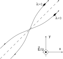 The real-space trajectory of the hole obtained by solving Eq.(