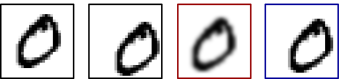 Motivating toy example. From left to right: the first digit shows what the model is conditioned upon, the second digit shows the frame we would like to predict at the next time step, the third digit shows the blurry prediction if we were to minimize MSE in pixel space, the last digit shows the prediction when minimizing MSE in the space of transformations. While the two models may have the same MSE in pixel space, the transformation-based model generates much sharper outputs. Although the motion is different than the ground truth (second digit), it is still a plausible next frame to the conditioned frame. In practice, the input is a sequence of consecutive frames.