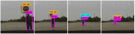 In the video sequence of autonomous vehicle approaching a printed perturbed stop sign, the stop sign is misclassified into a sports ball in two frames, and classified correctly in all other frames of various distances.