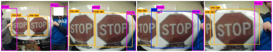 In the video sequence, the camera moves in close proximity around a printed original stop sign image and a printed adversarial stop sign. The original stop sign is always detected as stop sign while the adversarial stop sign is detected as toilet for two frames in an angle (detected as stop sign in all other angles).
