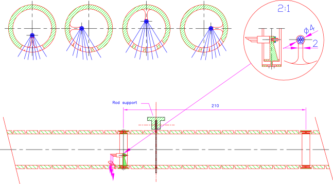 Section of a laser rod with a micromirror bundle and its support. An end view of the tube with the position of the four mirror bundles is also shown.