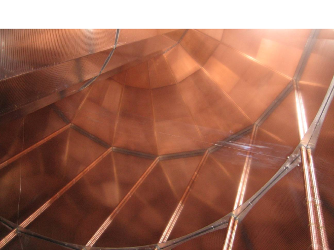A view inside the field cage where the strips and supporting rods are visible. The central electrode reflects a view of the field cage and the readout chambers. The subdivision of the pad planes of the OROCs into four boards can be seen. The skirt electrodes around the OROCs are also visible.
