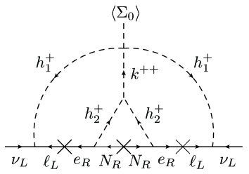 A schematic description for the radiative generation of neutrino masses.