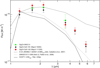 Spectral energy distributions of the substellar candidates with SofI and
