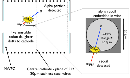 Schematic of RPR background in DRIFT-II. Rn decay can result in a positively charged ion that drifts to, and plates out on, the 20