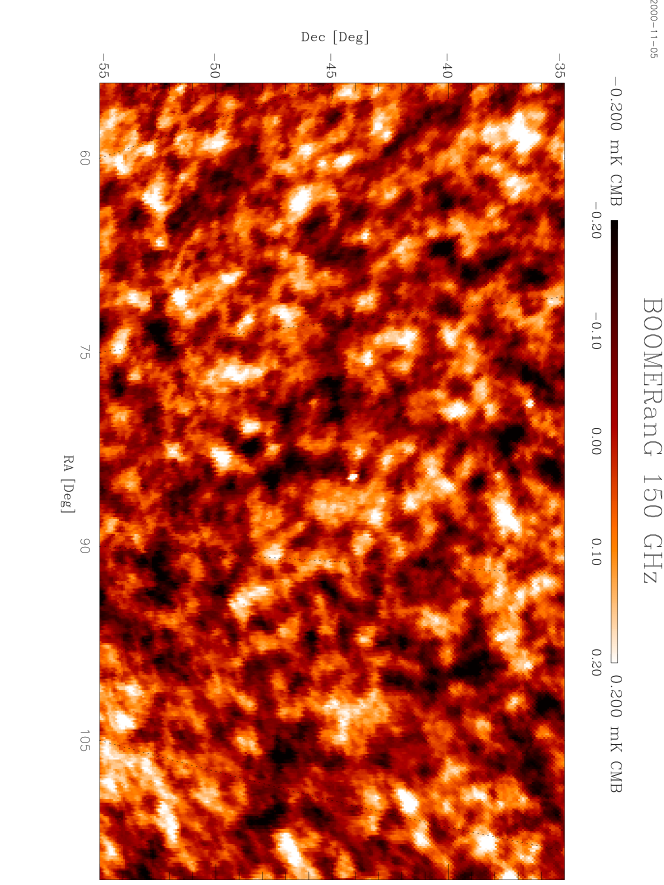The central part of the region observed by BOOMERanG at 150 GHz. The data have been high-pass filtered in the time domain to remove instrumental drifts. This process also removes structures in the sky larger than 10