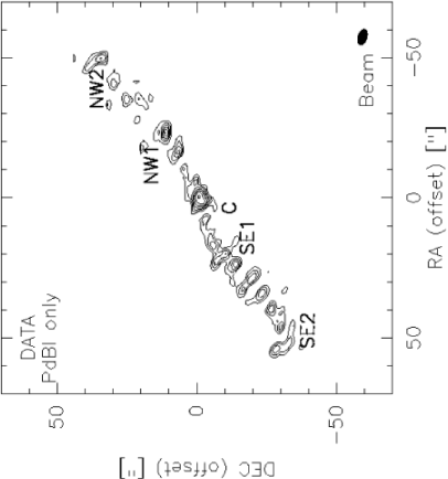 PdBI mosaic map of the velocity integrated CO(1–0) emission in NGC3718 (upper figure; from