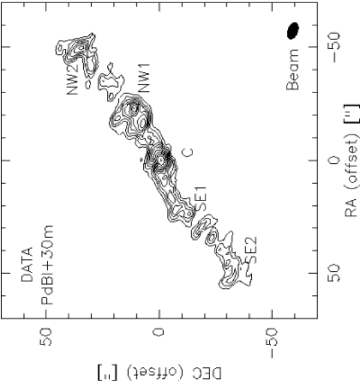 Velocity integrated intensity map of the CO(1–0) emission for the combined PdBI+30m data (fromm