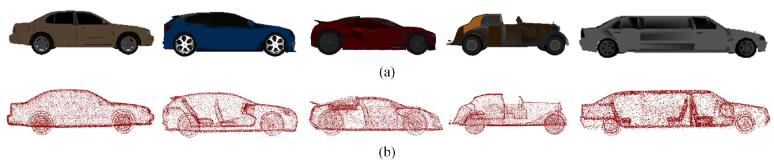 Examples of CAD models and sampled point clouds of vehicle instances from the ShapeNet dataset. (a) CAD models of vehicle instances stored in ShapeNet. (b) Generated complete point clouds sampled uniformly from these CAD models.