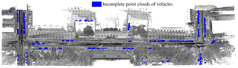 Point clouds of Arcisstrasse from the TUM-MLS-2016 dataset. The vehicle points and background points are shown in blue and gray colors, respectively.