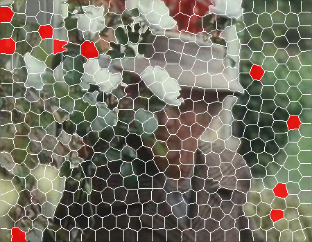 """The result of our RANSAC procedure to find background image patches. Notice that none of the patches are on the person moving in the foreground. Also notice that we force the algorithm to pick patches in three of the four image corners (a """"corner"""" is 4% of the image). The right figure shows the negative log likelihood of background."""