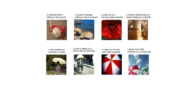 Captions generated by a neural network for scenes depicting umbrellas.