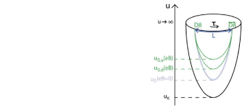 (a) Up and down flavour brane embedding in the presence of a magnetic field, (b) corresponding constituent quark masses