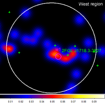 """Photon count maps of the """"Central"""" (left) and """"West"""" (middle) regions at 120-140GeV and the """"Reg1"""" region at 100-120GeV energy bands smoothed with"""