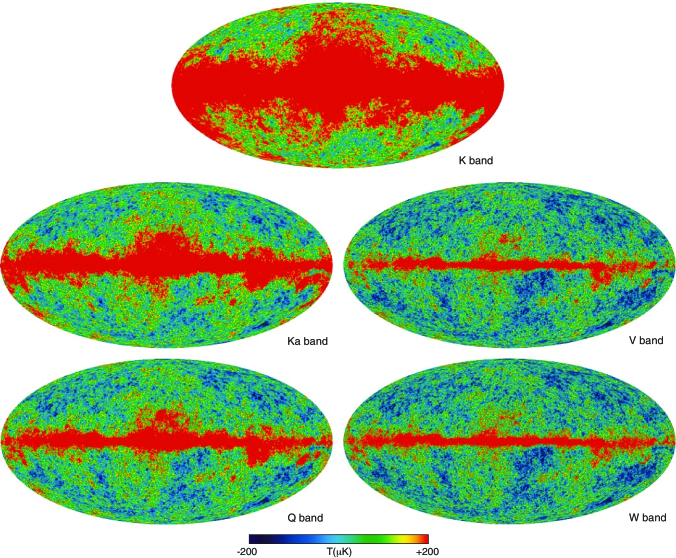 Five-year temperature sky maps in Galactic coordinates smoothed with a