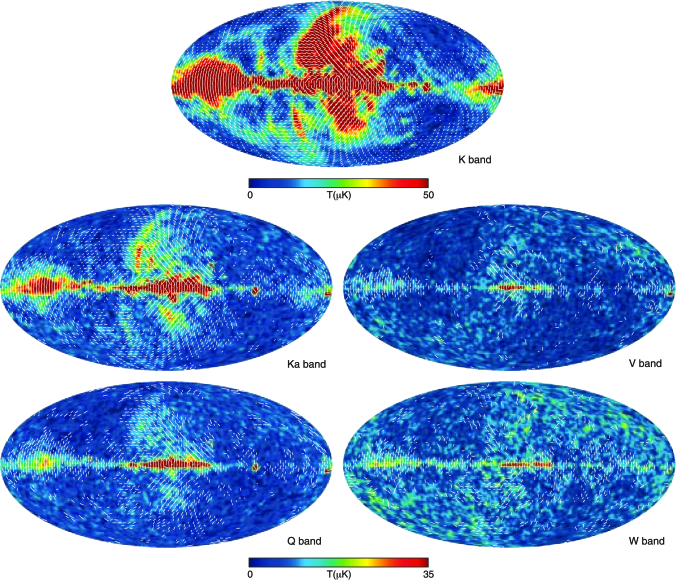 Five-year polarization sky maps in Galactic coordinates smoothed to an effective Gaussian beam of
