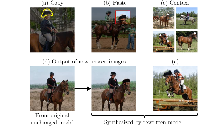 (a) Copy: the user uses a brush to select a region containing an interesting object or shape, defining the target. (b) Paste: The user positions and pastes the copied object into a single target image. (c) Context: To control generalization, the user selects target regions in several images. (d) The edit is applied to the model, not to a specific image, such that newly generated images will have hats on top of horse heads. (e) The change has been applied to different types of horses and poses.