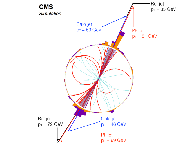 Jet reconstruction in a simulated dijet event. The particles clustered in the two PF jets are displayed with a thicker line. For clarity, particles with