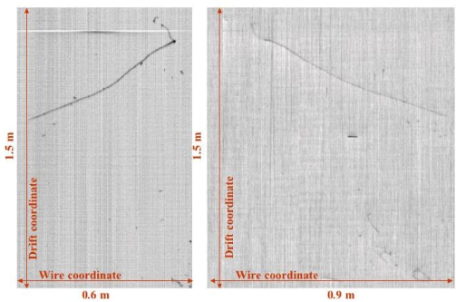 Run 966 Event 8 Right chamber: muon decay event views corresponding to the Collection (left) and second Induction (right) wire planes.