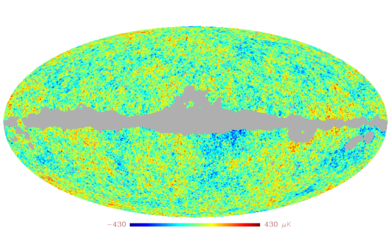 Map of CMB fluctuations obtained after Wiener filtering of the data using parameters estimated with SMICA.