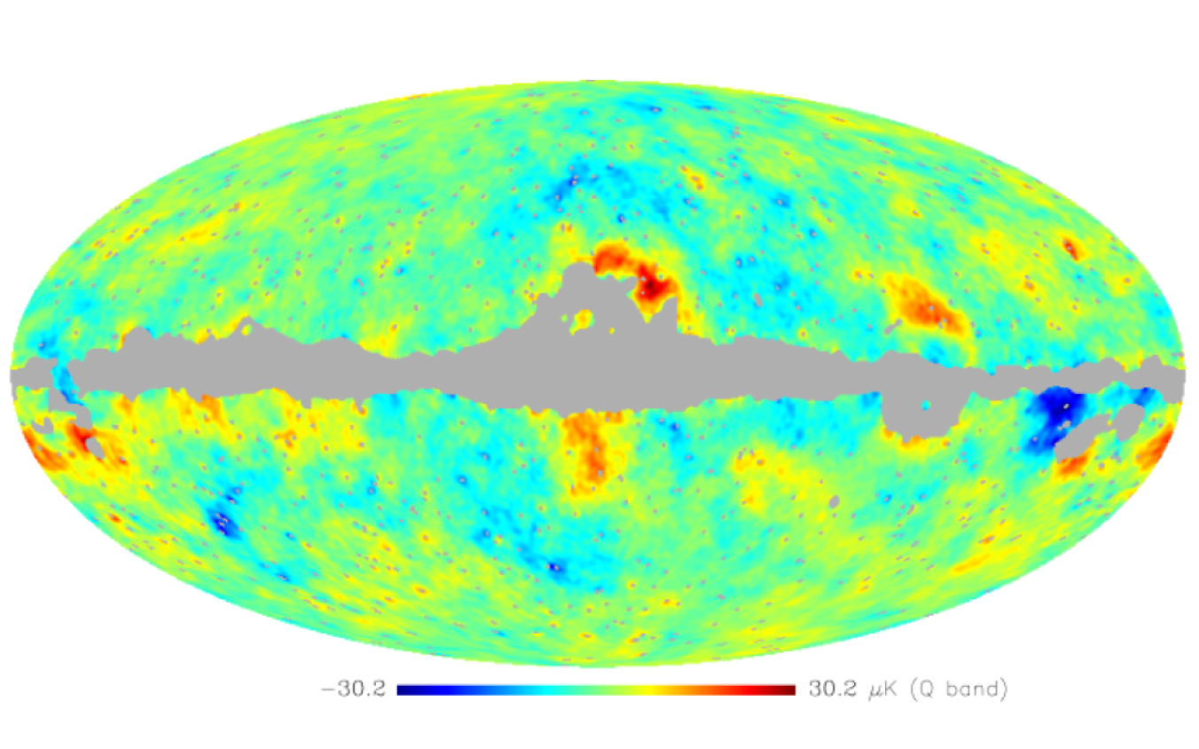 """Map of the residual component as """"seen"""" in the Q-band, obtained by Wiener filtering using estimated parameters."""