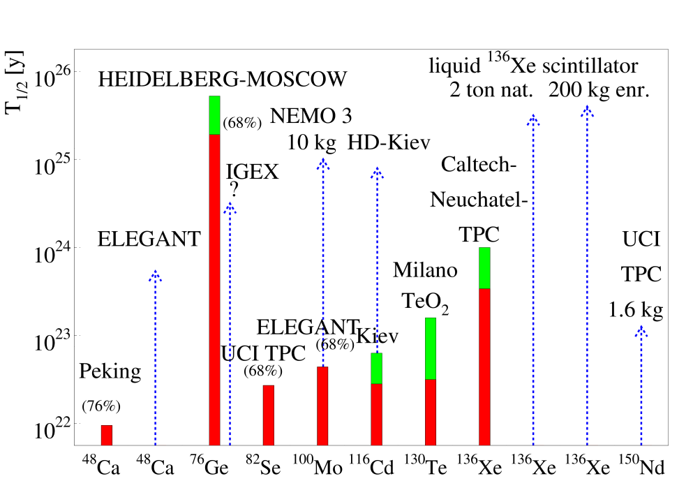 Present half life limits (filled bars), 1997, and 'safe' expectations (light shaded bars) for the near future (until the year 2000) and long term planned or hypothetical experiments (dashed lines) for the further future of the most promising