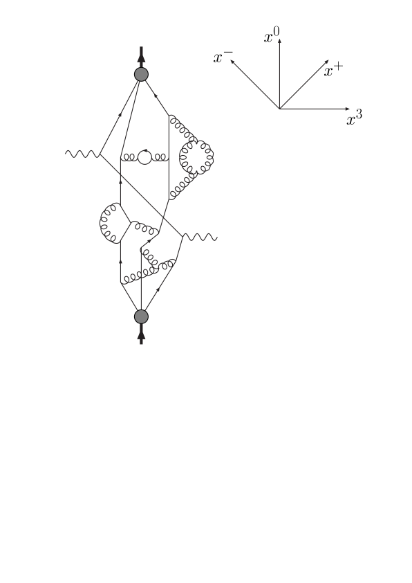 Space-time cartoon illustrating Compton scattering in the Bjorken limit, where the struck quark propagates without interactions along a light-like direction.