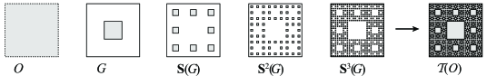 From top to bottom: a Koch curve tiling, a Sierpinski gasket tiling, and a Sierpinski carpet tiling. In each of these examples, the set