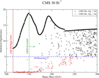 Higgs discovery potential via direct searches at CMS with 30 fb