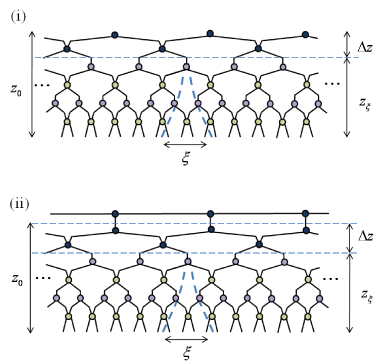 (Color online) Finite range MERA for an infinite lattice in
