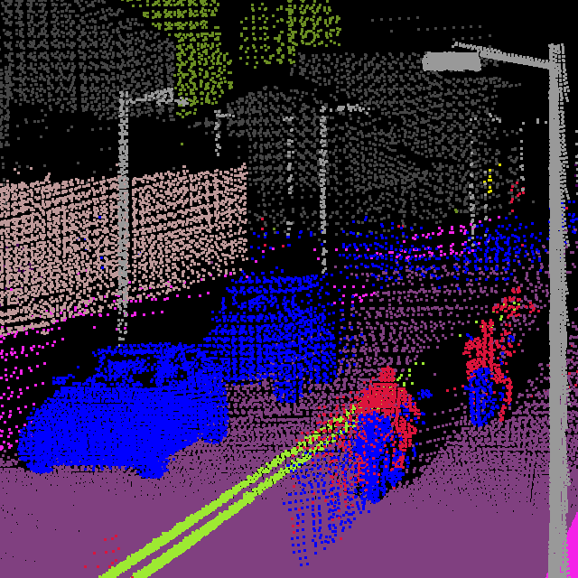 Point cloud visualization of our RGB-D network outputs for multiple streams. We are able to successfully recover even bigger parts of the scene not visible over the whole duration of a trajectory due to being occluded by dynamic objects. Our model is appropriate for a preprocessing stage for various localization and mapping systems.