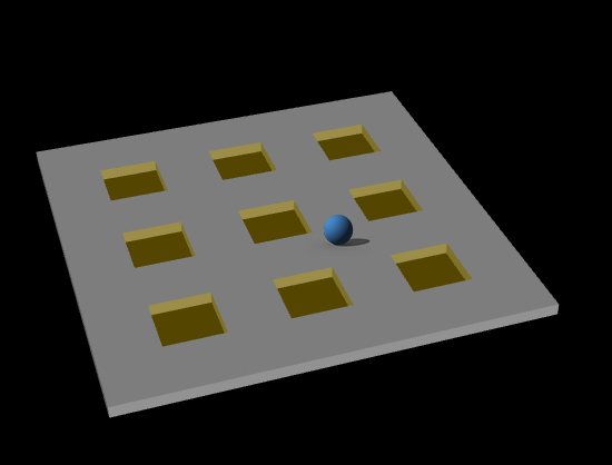 """The Numpad environment, showing the controllable """"sphere"""" robot and a full 3x3 pad. Pads are activated when the robot collides with their center. The robot can move on the plane as well as jump to avoid pressing numbers."""