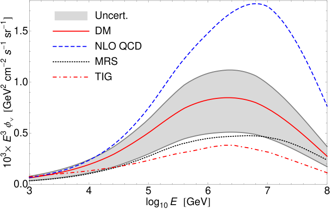 Prompt muon neutrino fluxes obtained in perturbative QCD. The shaded area represents the theoretical uncertainty in the prompt neutrino flux evaluated in this paper, and the solid line in the band is our standard result. The dashed curve is the NLO perturbative QCD calculation of Ref.