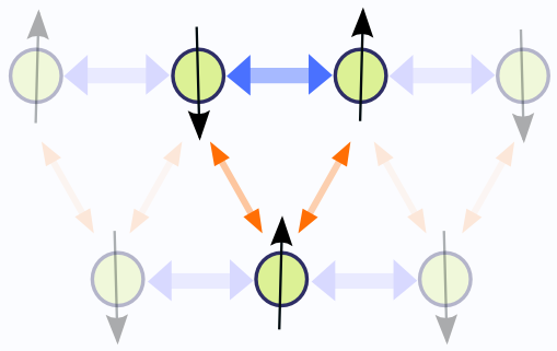 Displacement of two linear ion strings with respect to each other creates a triangular geometry. The designed coupling of spins could be used to create frustrated ion crystals.