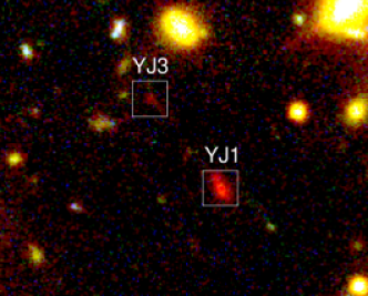 Color-composite images of the multiple image candidates, HFF4C-YJ1 and HFF4C-YJ3 (