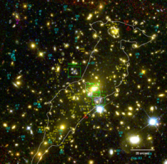 Multiple image systems used for mass modeling, dropout galaxies, and critical curves of the best-fitting models for Abell 2744(