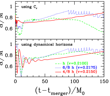 Estimates of the angular momentum of the final black hole, corresponding to the simulations shown in Fig.'s