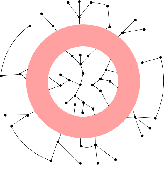 Connected components of a vertex. Three first components, shown inside the shaded area, are trees. The higher ones, shown outside the shaded area, are assumed to contain a finite fraction of the network, and, therefore, may contain closed loops.