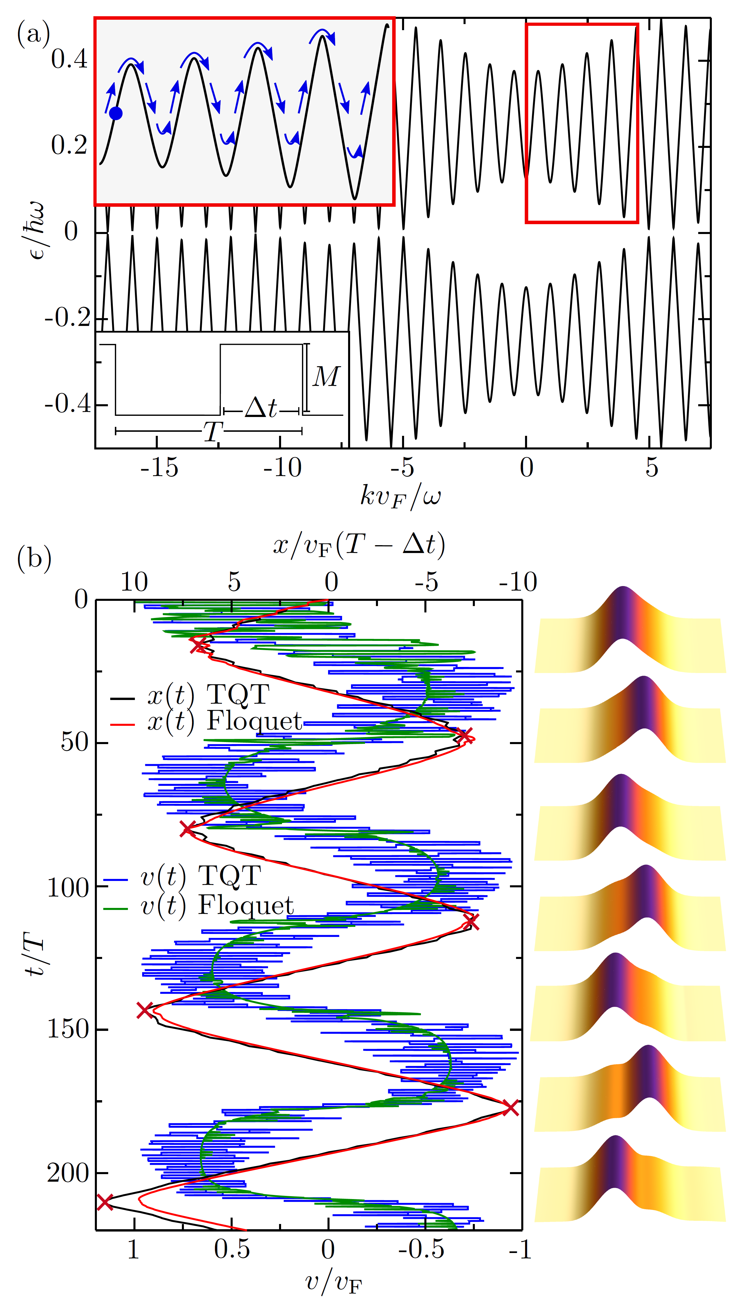 Floquet oscillations in a driven, spatially homogeneous Dirac system. (a) Floquet bands from a periodically opened mass gap (see Eq.(
