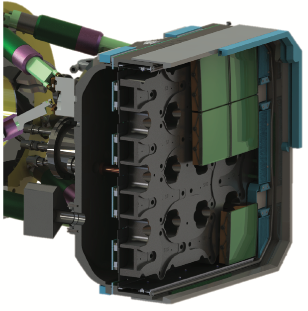This cutaway view of the ZTF camera reveals the faceted cold plate, CCD cable pass-throughs, VIB, and economy of cryostat footprint maximizing optical transmission.
