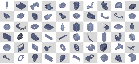 Exemplar images randomly chosen from the ESB dataset. Compared to the PSB dataset, all of the models contained in the ESB are mechanical engineering objects(parts) such as bearing assemblies, spacer, spinner, etc.