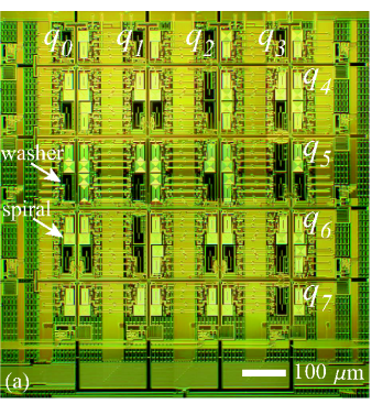 (Color online) (a) Optical image of an eight-qubit unit cell completed through the processing of WIRB. Qubits, labeled as