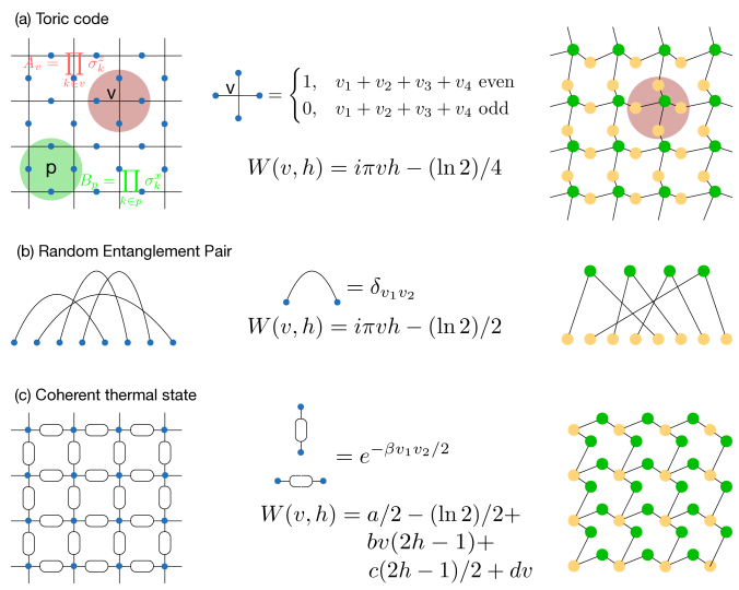 RBM representation (shown on the right side) of some many-body entangled states (defined on the left side). (a) Toric code is the simplest topologically ordered state and is used as a quantum error correcting code. The wave function for the toric code is a product of functions shown in the figure for each vertex