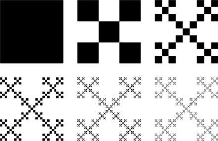 Construction steps of the example self-similar set