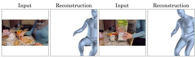 Shots focused on hands occur often in consumer video. While the visible body may look similar across instances, full-body pose can vary widely, meaning keypoint detection is not sufficient for full-body reasoning. After self-training, our method learns to differentiate activity such as standing and sitting given similar visible body.