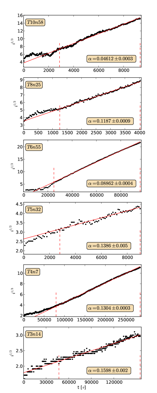 The sizes of the largest clusters in the simulations are cubic with time. From these we can estimate the net growth rate per encounter