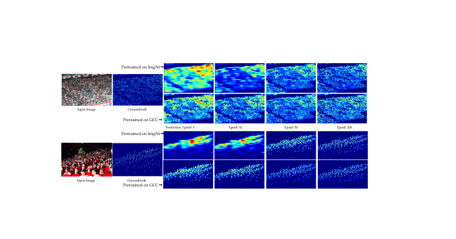 Visual comparison of different pre-trained models on UCF-QNRF.