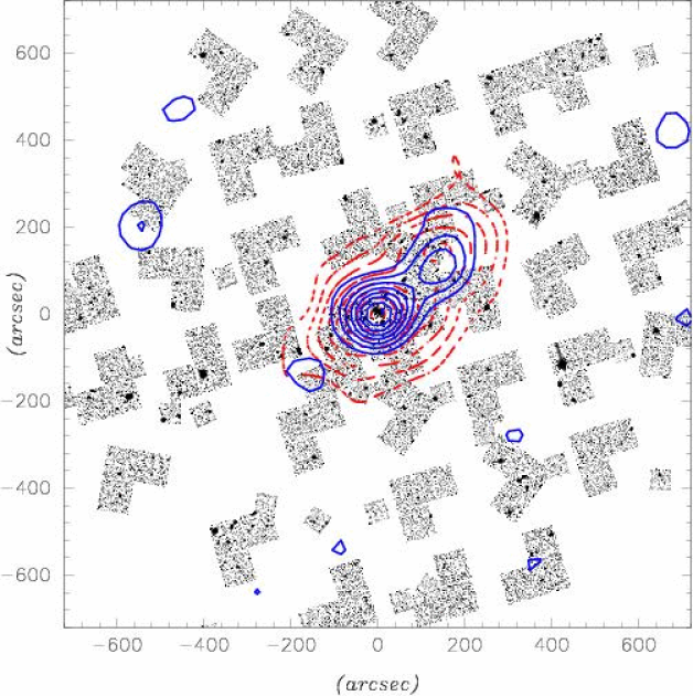 The 39 WFPC2/F814W, and the 38 STIS/50CCD pointings sparsely covering the Cl0024+1654 cluster. The dashed (red) contours represent the number density of cluster members as derived by Czoske et al. (2002). The solid (blue) contours show the mass map built from the joint WFPC2/STIS analysis using the