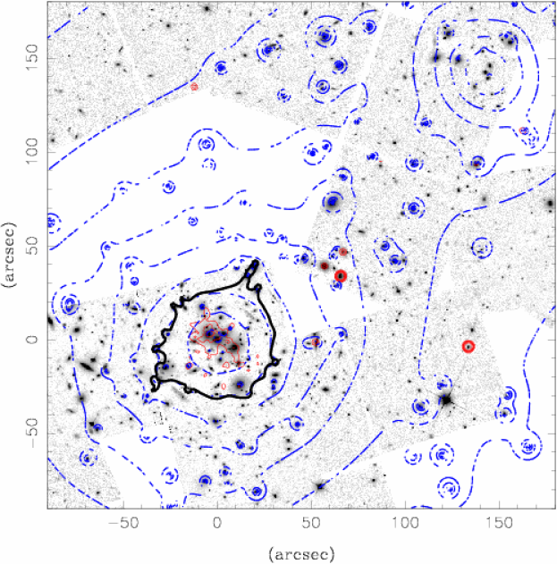 Mass distribution in the central part of Cl0024+1654 (dash-dotted blue contours). The solid (red) contours represent those of