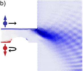 (color online) Spin injection profile from (a) an ideal GNR and (b) a GNR with a distorted edge into a region of n-doped graphene. Nonequilibrium densities for spin up (down) electrons are shown in blue (red).